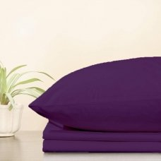 Trikotažinė paklodė su guma, 160x200 cm + 2 vnt. pagalvių užvalkaliukai 50x70 cm (violetinė)