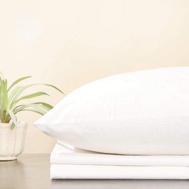 Trikotažinė paklodė su guma, 160x200 cm + 2 vnt. pagalvių užvalkaliukai 50x70 cm (balta)