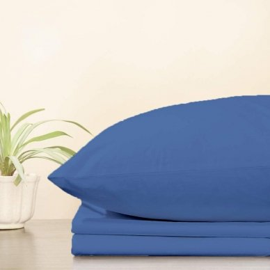 Trikotažinė paklodė su guma, 160x200 cm + 2 vnt. pagalvių užvalkaliukai 50x70 cm (mėlyna)