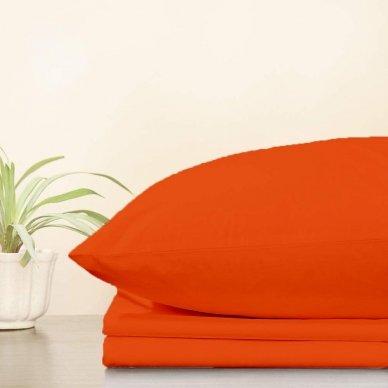 Trikotažinė paklodė su guma, 160x200 cm + 2 vnt. pagalvių užvalkaliukai 50x70 cm (oranžinė)