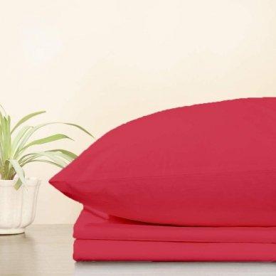 Trikotažinė paklodė su guma, 160x200 cm + 2 vnt. pagalvių užvalkaliukai 50x70 cm (raudona)