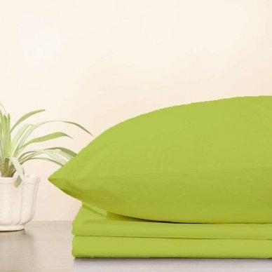 Trikotažinė paklodė su guma, 160x200 cm + 2 vnt. pagalvių užvalkaliukai 50x70 cm (salotinė)