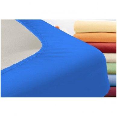 Trikotažinė paklodė su guma (mėlyna) 2