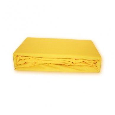 Trikotažinė paklodė su guma (Geltona), 200x220 cm