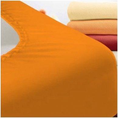Trikotažinė paklodė su guma (oranžinė)