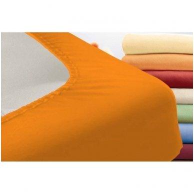 Trikotažinė paklodė su guma (oranžinė) 2