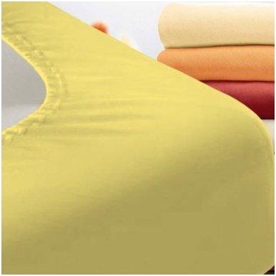 Trikotažinė paklodė su guma (gelsva)