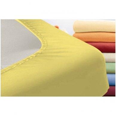 Trikotažinė paklodė su guma (gelsva) 2