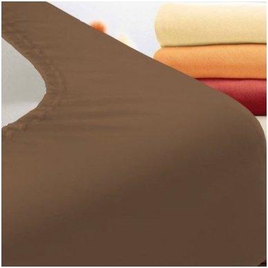 Trikotažinė paklodė su guma (ruda)