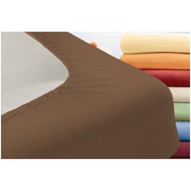 Trikotažinė paklodė su guma (ruda) 2