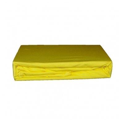 Trikotažinė paklodė su guma (Šviesiai geltona), 200x220 cm