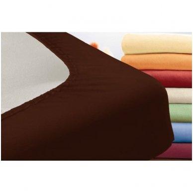 Trikotažinė paklodė su guma (tamsiai ruda) 2