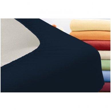 Trikotažinė paklodė su guma (tamsiai mėlyna) 2