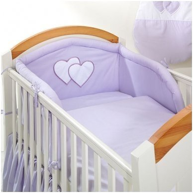 """Vaikiškas patalynės komplektas """"Violetinė Širdelė"""", 6 dalių, 90x120 cm"""
