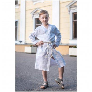Vaikiškas medvilninis chalatas berniukui (baltas) 3