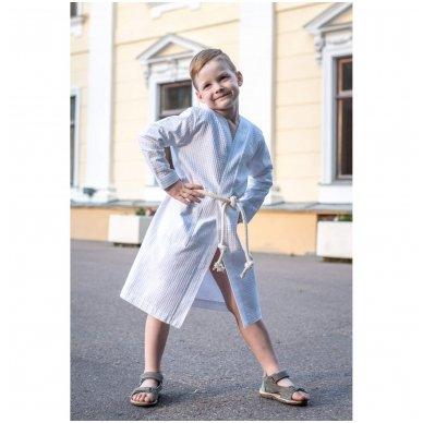 Vaikiškas medvilninis chalatas berniukui (baltas)