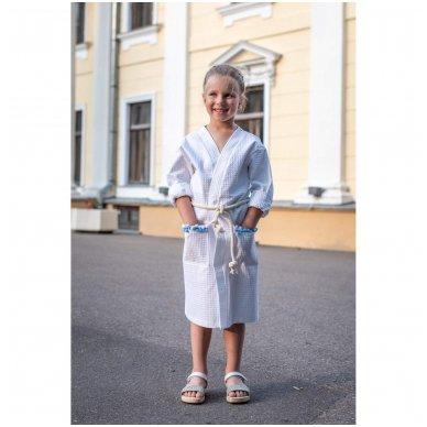 Vaikiškas medvilninis chalatas mergaitei (baltas)