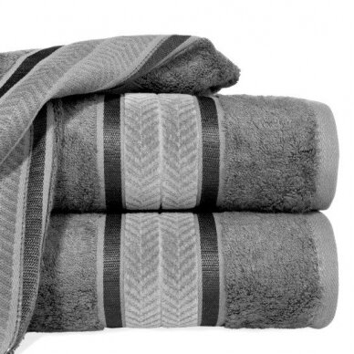 """Veliūrinis bambukinis vonios rankšluostis """"Miroko"""" (plieno)"""