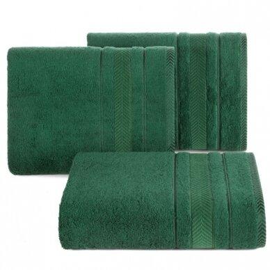 """Veliūrinis bambukinis vonios rankšluostis """"Runa"""" (tamsiai žalia)"""