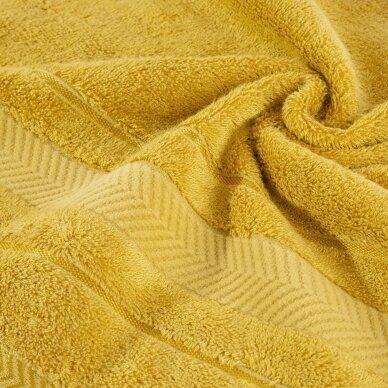 """Veliūrinis bambukinis vonios rankšluostis """"Runa"""" (garstyčių) 2"""