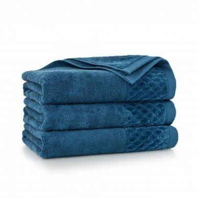 """Veliūrinis Egipto medvilnės rankšluostis """"Karla"""" (mėlynas)"""