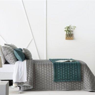 """Velveto lovos užtiesalas """"Naroa Gris"""", 250x270 cm (pilka) (2 užvalkaliukai)"""