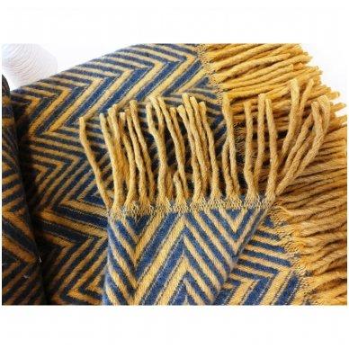 "Merino vilnos pledas ""Zigzag Yellow"", 140x200 cm 2"