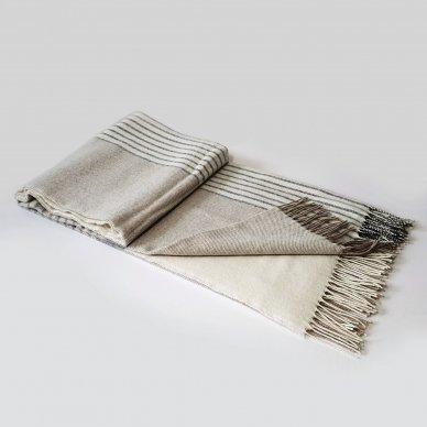 "Vilnonis pledas su kašmyru ""Kuba Beige Dark Grey"", 140x200 cm"