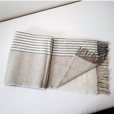 "Vilnonis pledas su kašmyru ""Kuba Beige Dark Grey"", 140x200 cm 3"