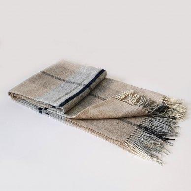 "Vilnonis pledas su kašmyru ""Kuba Dark Beige Grey"", 130x180 cm 4"