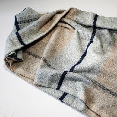 "Vilnonis pledas su kašmyru ""Kuba Dark Beige Grey"", 130x180 cm 6"