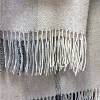 "Vilnonis pledas su kašmyru ""Kuba Dark Beige Grey"", 130x180 cm 3"