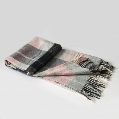 """Vilnonis pledas su kašmyru """"Kuba Light Pink Grey"""", 130x180 cm"""