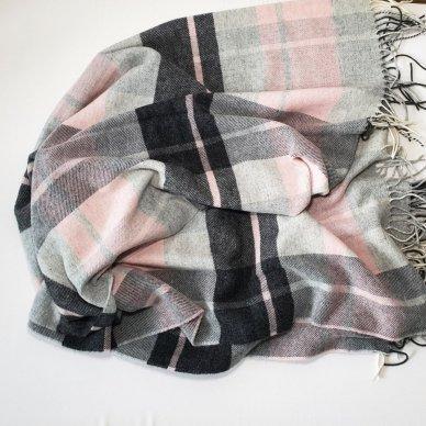 """Vilnonis pledas su kašmyru """"Kuba Light Pink Grey"""", 130x180 cm 4"""