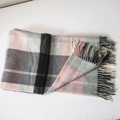 """Vilnonis pledas su kašmyru """"Kuba Light Pink Grey"""", 130x180 cm 2"""