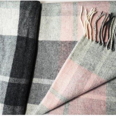 """Vilnonis pledas su kašmyru """"Kuba Light Pink Grey"""", 130x180 cm 3"""