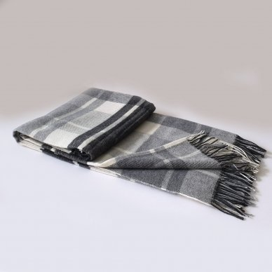 "Vilnonis pledas su kašmyru ""Kuba Light Grey"", 140x200 cm"
